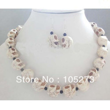 New Arriver Gem Stone Jewelry Set White Color Skull Stone Black Onyx Necklace 925 Silver Earrings 4-16MM Fashion Jewelry