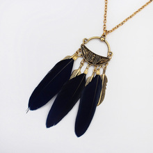 YYW Feather Sweater Necklace,Womens Jewelry, with Zinc Alloy, plated, oval chain, 72cm, Sold Per Approx 28 Inch Strand