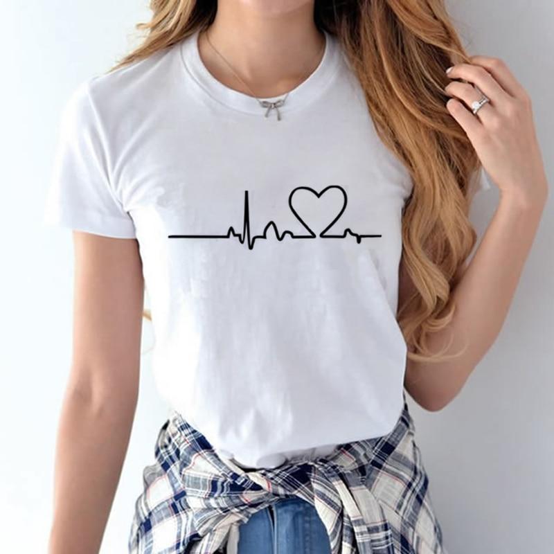 100% Coton 2018 Femmes T chemises D'été Amour Imprimé T-shirt Bande Dessinée Occasionnel de Court Manches Shirt Tops Plus La Taille Blanc T-shirt 26