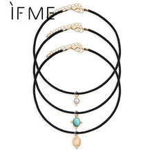 IF ME 3 Color Crystal Stone Black Velvet Chokers Necklaces Vintage Created Stone Pendants Sets Necklace For Woman Collier Femme(China)