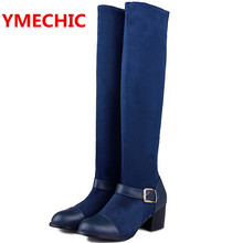 YMECHIC Knee High Women's Boot Female Blue Black Green Red Suede PU Patchwork High Heels Buckles Shoes Ladies Knee Botas T3