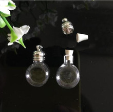 50pieces 20x12mm tiny flat ball glass Vial pendant glass bottle locket necklace pendant charms name on rice bottle(China)
