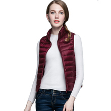 HOT!Winter Women 90% White Duck Down Vest Women's Ultra Light Duck Down Vest Jacket Autumn Winter Sleeveless Coat(China)