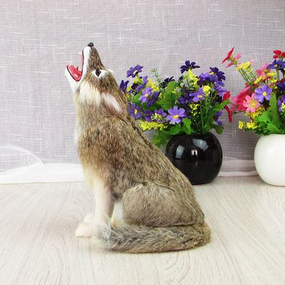 simulation wolf model about 23x10x16cm,plastic&amp;furry fur  squatting wolf handicraft,home decoration toy Xmas gift w5864<br>