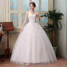 Custom Made Strapless 2016 New Arrival Korean Style Cheap Wedding Gown White Lace Romantic wedding dress Free shipping T203