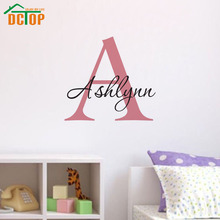 Removable Vinyl Wall Art Decals Customized Name Big Letter Adhesive Wallpaper Waterproof Modern Design Wall Stickers Home Decor