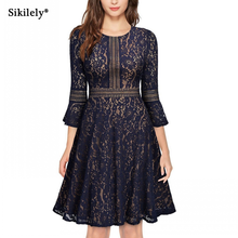 Autumn New Lace Dress 3/4 Sleeve O Neck Vestidos de Renda A Line Knee Length Casual Dress Party Cocktail 2017 Vestidos Mujer(China)