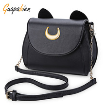 Guapabien Kawaii Summer Sailor Moon Ladies Handbag Black Luna Cat Chain Shoulder Bag Leather Women Messenger Crossbody Small Bag