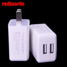 Redbearlin 500pcs/lot Dual usb prots Ac home wall charger US plug adapter for iphone 5 6 6s for ipad for samsung htc lg mp3