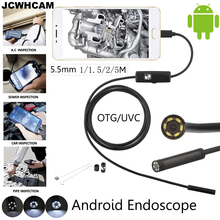JCWHCAM 5.5mm Lens Android OTG USB Endoscope Camera 1M 2M 3.5M 5M Waterproof Snake Pipe Inspection Android USB Borescope Camera(China)