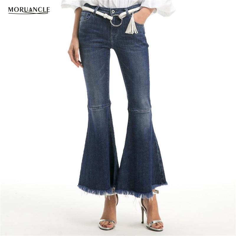 MORUANCLE New Fashion Womens Wide Leg Jeans Pants High Waisted Autumn Boot Cut Flare Denim Trousers For Female Wahsed Size S-XLÎäåæäà è àêñåññóàðû<br><br>