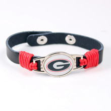 5Pcs/lot NCAA Georgia Bulldogs Team Logo Charms Leather Bracelet Adjustable Mens Black Leather Bracelet For Men Women Jewelry