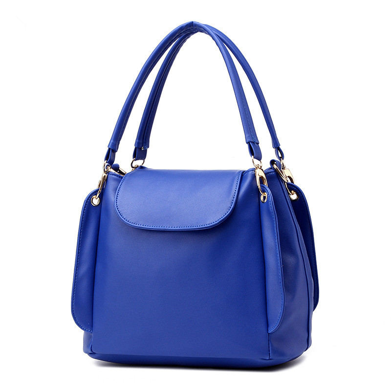 Elegant Royal Blue PU Women Handbag Shoulder Bag 3 Layers Casual Travel Bag Bucket BagClamshell Crossbody Messenger<br>