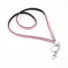 Wholesale 5X  Free Shipping Pink Strap Lanyard Bling Rhinestone Crystal Custom for ID Badge Key Ring Holder