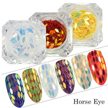 1g 3D Nail Sequin Laser Glitter Horse Eye Leaf Nail Art Decor Sticker Mixed DIY Flakes Paillette Nail Beauty Manicure CH01-13