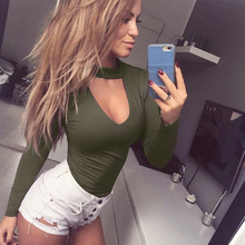 Sexy Womens Long Sleeve Bodysuit Choker Romper Deep V Neck Bodycon Body Suit One Piece Fitness Overalls For Women AQ814309(China)