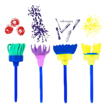 12PCS Kids Children Art Early Learning Painting Mini Flower Sponge Brushes DIY Crafts Drawing Tools Set(China)