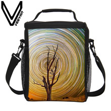 VEEVANV Brand 2017 Women Sky Pattern Food Cooler Bags 3D PU Thermal Insulated Picnic Lunch Bags Storage Big Lunch Cooler Handbag