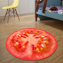3D tomato Round Mat 80/100/120/160CM alfombras dormitorio Carpet Living Room Deurmat Dier rugs Swivel chair Mats tapis chambre