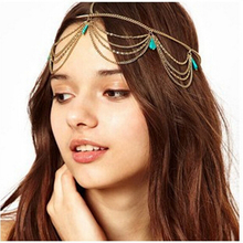 Beach Boho Head Chain Jewelry Bijoux Tiara Bridal Hairwear Green Crystal Headbands for Women Wedding Hair Jewelry Accessories