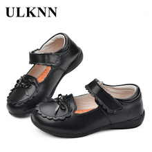 ULKNN Genuine Leather Shoes Girls Princess Casual Mary Jane Flats Bow Knot Lace Baby Kids Children Shoes Pink White Black Red(China)