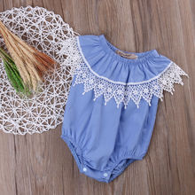 Newborn Baby Girl Clothes Floral Lace Bodysuit Jumpsuit Outfits Set One-pieces Children Clothing Girls Costume Pink Blue Cotton