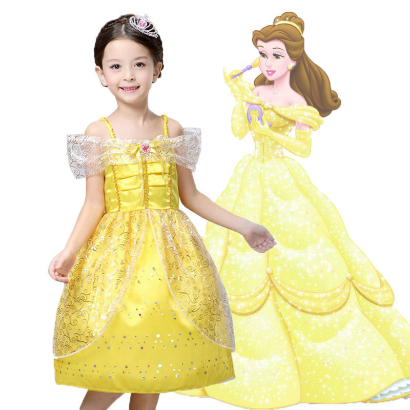 Kids Girl Summer Style Clothes cosplay  costume girls wedding dress Belle Princess dress for Christmas Halloween,fantasia<br><br>Aliexpress
