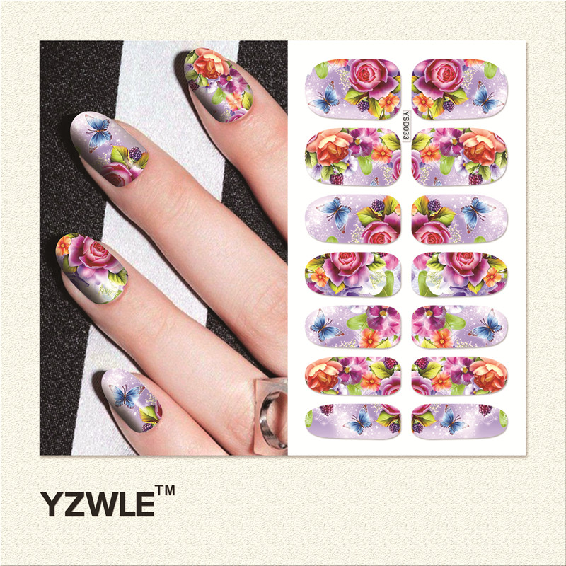 YZWLE  1 Sheet Water Transfer Nails Art Sticker Manicure Decor Tool Cover Nail Wrap Decal (YSD033)<br><br>Aliexpress