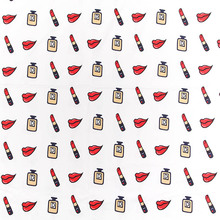 Wide 140cm Retro handmade Twill Cotton Fabric Perfume Red Lips printed Fabric Quilting patchwork DIY Sewing Women Dress Clothing(China)