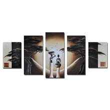 100% Handpainted 5 Panel Large High End Amazing African Women Paintings Art Sunset Landscape Wall Decor Picture