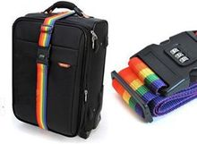 1pcs Rainbow Travel Adjustable Luggage Suitcase Strap with Coded Lock Secure Lock Safe Belt Strap 2m baggage Belt