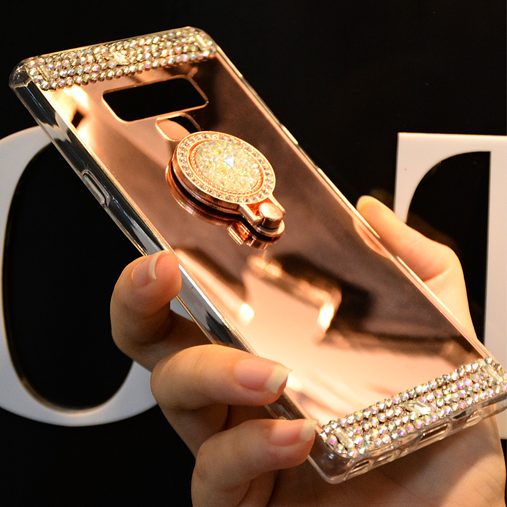 Diamond Phone Case For Samsung S8 S9 Plus A3 A5 A7 J3 J5 J7 2016 2017 Mirror Case For Samsung S8 Note 8 9 S7 S6 Edge Ring Holder