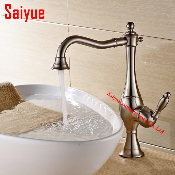 2016 New arrival nickel brushed bathroom sink faucet mixer tap single holder/hole deck mounted  robinet salle de bain<br><br>Aliexpress
