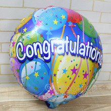 new arrivel 15pcs/lot 18'' Congratulation aluminium foil balloons wedding decoration globos Colorful round helium ballons(China)