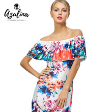 AZULINA Bohemia Off The Shoulder Floral Hawaiian Print Maxi Dress Women Summer Holiday Elegant Long Dresses Beach Wear Boho 2017