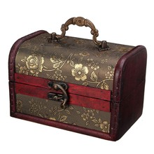 Vintage Treasure Pearl Jewelry Storage Wood Box Organiser Cherry Flower Pattern Wooden Decor Boxes Case With Lock(China)