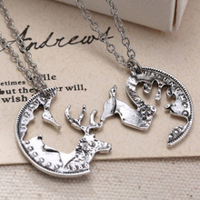 Steampunk Silver Tone Deer Necklace Crystal Pendant Jewelry Gift Chain Couple