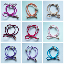 PF Two Rings Elastics Hair Bands Rhinestones Hair Tie Ring Rope Hair Accessories for Women Girls Ponytail Holder Headwear TS0664