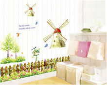 beautiful natural scenery big windmill and bird korean wall sticker