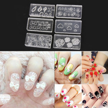 6pcs DIY 3D Silicone Nail Art Decorations Acrylic Cabochon Design Mold Nail Art Template Decorative Patterns Nails Accessoires
