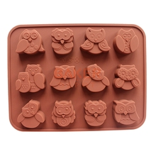 DIY tools silicone chocolate mold with 12 holes owl FDA quality animal mold