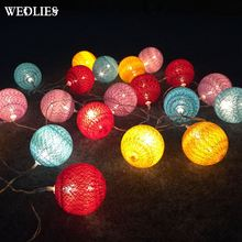 New 20 Pcs/Lot Sweet Pastel Warm Cotton Ball With LED Battery Operated String Lights For Wedding Christmas Party Home Decor(China)