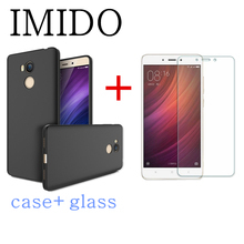 IMIDO 2PCS/set For Xiaomi Mi6 plus Mi5 5C 5S plusMi4 for Mi MAX2 TPU Frosted Ultra Thin Back Cover Case + Screen protector Glass