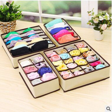 New Hot 2017 Europe Square Clothing Organizer 4pcs Underwear Bra Scarfs Socks Organizer Storage Box Color Foldable Divider(China)