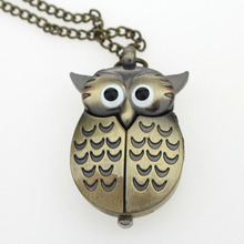 Wholesale! Brand New 10Pcs/Lot Fashion Brown Owls Necklace Pocket Pendant Quartz Watch GL03ET, Chain Included(China)