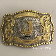 Retail New Style High Quality Cool 3D Lace Gold J Initial Letter Men Belt Buckle With 138*95mm 128g Metal Belt Head Jewelry(China)