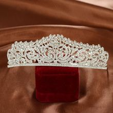 Luxury Silver Large Diamante Wedding Pageant Tiara Headband Full Crystal Bridal Crown For Bride Hair Jewelry Headpiece Hairwear