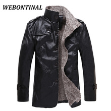 WEBONTINAL Brand Winter Casual Male Faux Leather Jackets Men Coat Motorcycle Thick Velvet Fashion Quality Man Outerwear Imported(China)