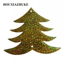 25 pcs per lot glitter green or light gold loose tree shaped sequins for Christmas decorations
