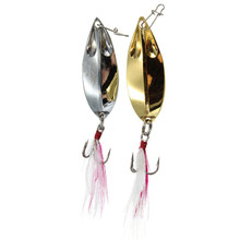 2pcs/lot 2 Colors Fishing Spoon Metal Lures Hard Bait Fresh Water Bass Walleye Crappie Fishing Tackle